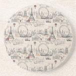 Vintage Black & White Europe Images Coasters