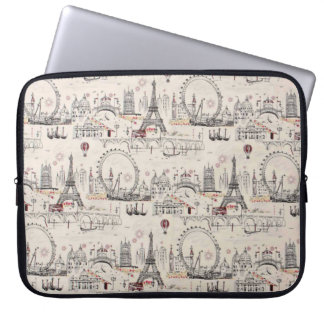Vintage Black & White Europe Images Laptop Computer Sleeve