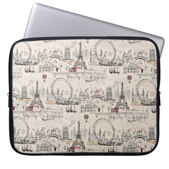 Vintage Black & White Europe Images Laptop Sleeve