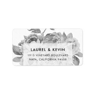 Vintage Black & White Floral Return Address Labels