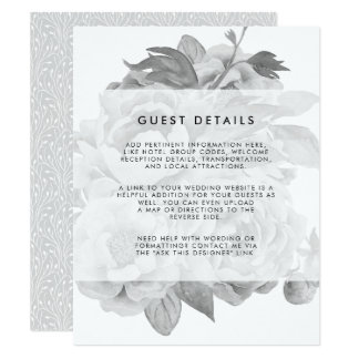 Vintage Black & White Floral Wedding Guest Details Card