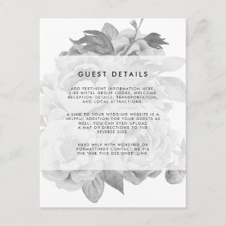Vintage Black & White Floral Wedding Guest Details Enclosure Card