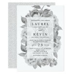 Vintage Black & White Floral Wedding Invitation