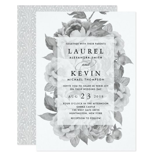 Vintage Black & White Floral Wedding Invitation