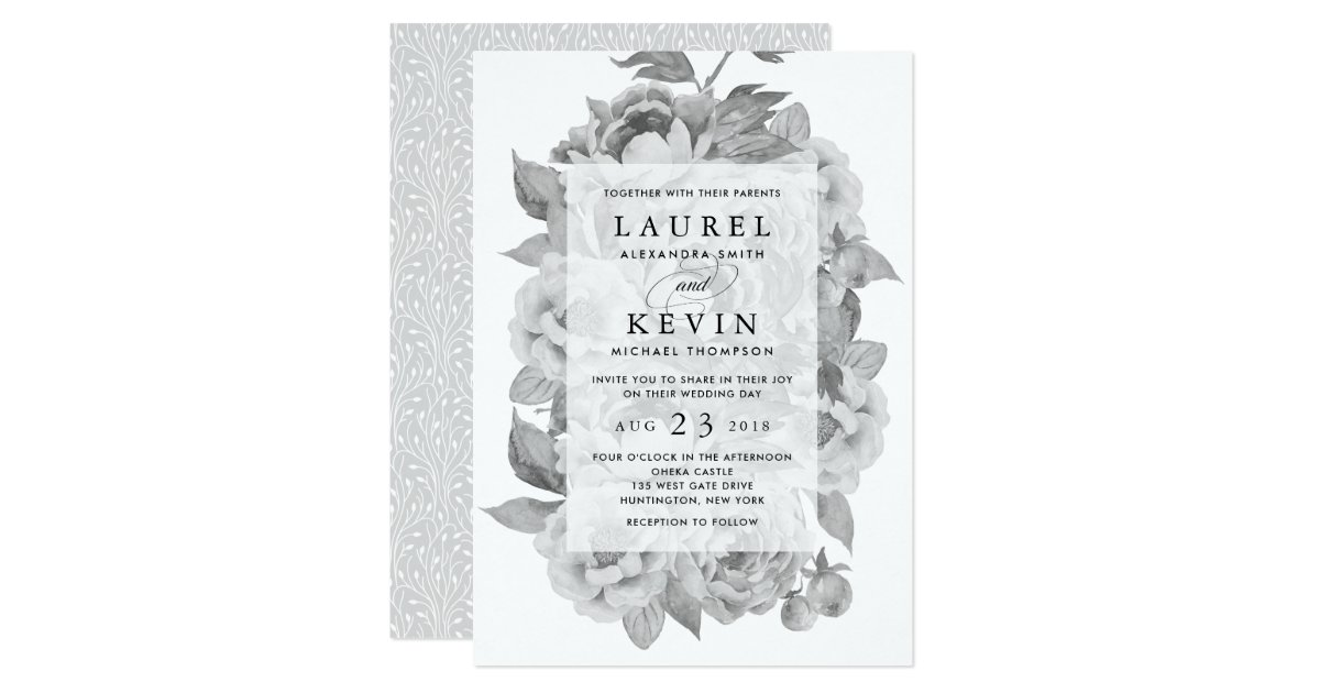 Vintage Black Amp White Floral Wedding Invitation Zazzle Com