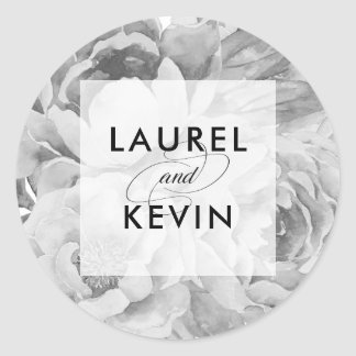 Vintage Black & White Floral Wedding Stickers