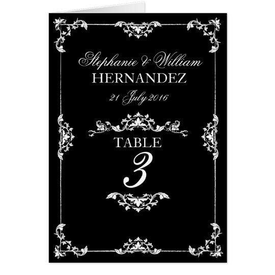 Vintage Black & White Floral Wedding Table Number