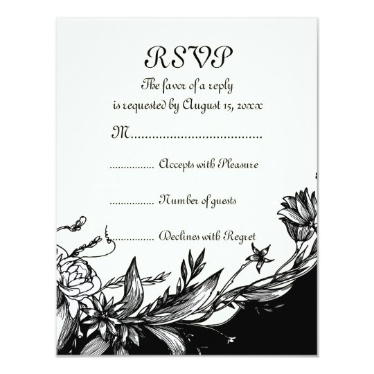 Vintage black white flowers ivory floral RSVP card