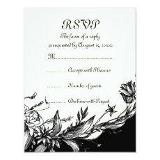Vintage black white flowers ivory floral RSVP card 4.25