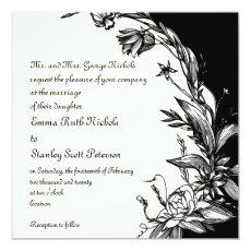 Vintage black white flowers ivory floral wedding 5.25