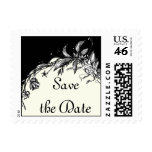Vintage black white flowers on ivory Save the Date Stamp