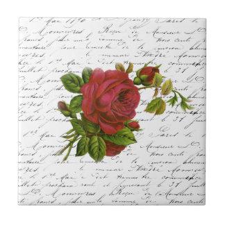 Vintage Black White French Typography Red Rose Ceramic Tile