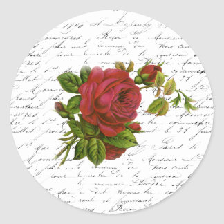 Vintage Black White French Typography Red Rose Classic Round Sticker