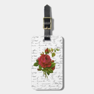 Vintage Black White French Typography Red Rose Bag Tag