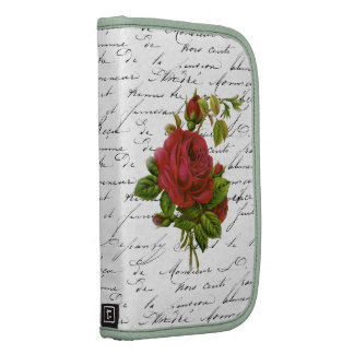Vintage Black White French Typography Red Rose Planner