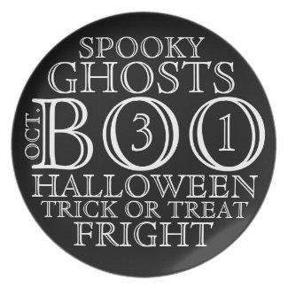 Vintage Black & White Halloween Typography Plate