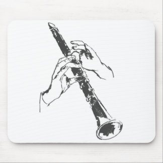 Vintage Black White Hands Clarinet Benny Goodman Mouse Pad