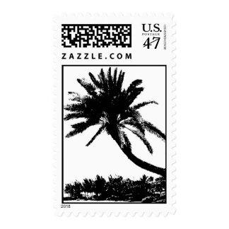 Vintage Black White Hawaii Palm Trees Postage