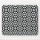 Vintage Black White Ikat Diamond Squares Pattern Mouse Pad
