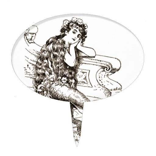 Vintage Black White Mermaid Drawing Cake Toppers