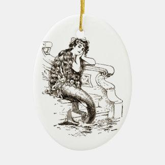 Vintage Black White Mermaid Drawing Ceramic Ornament