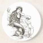 Vintage Black White Mermaid Drawing Coaster