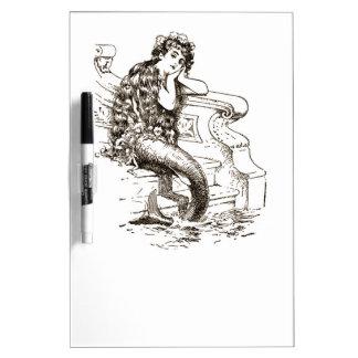 Vintage Black White Mermaid Drawing Dry-Erase Board