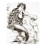 Vintage Black White Mermaid Drawing Personalized Letterhead