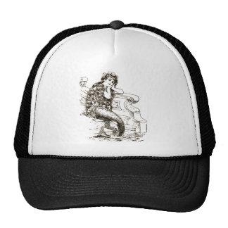 Vintage Black White Mermaid Drawing Mesh Hat