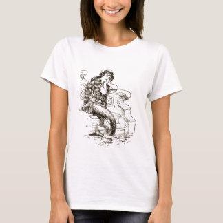 Vintage Black White Mermaid Drawing T-Shirt