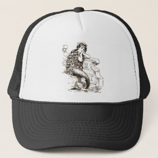 Vintage Black White Mermaid Drawing Trucker Hat