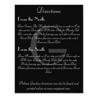 Vintage Black & White Monogram Direction Card
