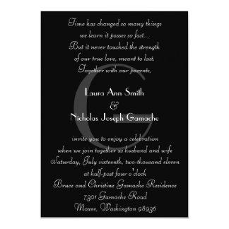Vintage Black & White Monogram Invitation Verticle