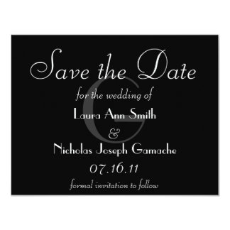 Vintage Black & White Monogram Save the Date 4.25x5.5 Paper Invitation Card