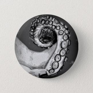 Vintage Black & White Nautical Octopus Tentacle Pinback Button