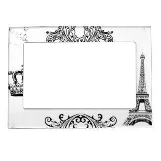 Vintage Black White Paris Amour Eiffel Tower Magnetic Photo Frame