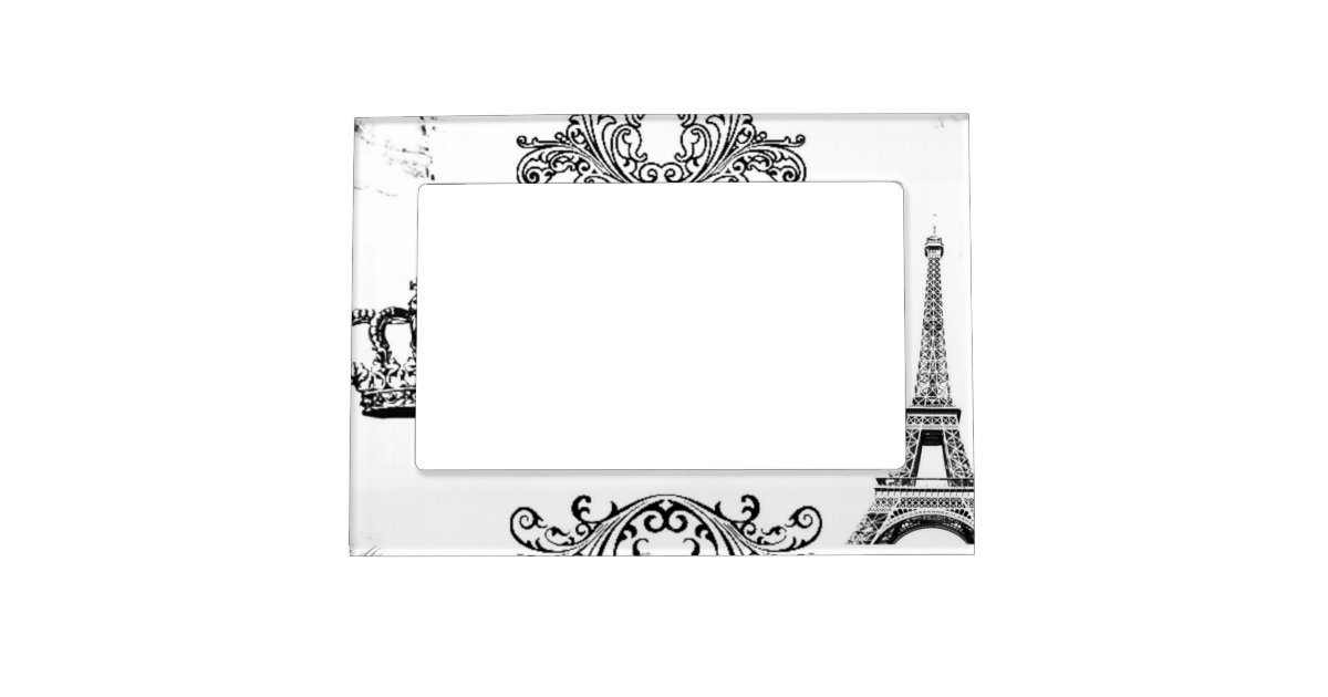 vintage black white paris amour eiffel tower magnetic photo frame zazzle