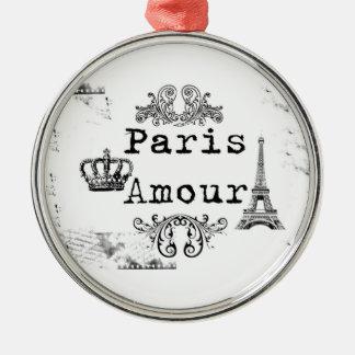 Vintage Black White Paris Amour Eiffel Tower Metal Ornament
