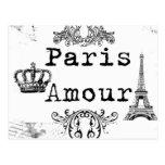 Vintage Black White Paris Amour Eiffel Tower Post Card