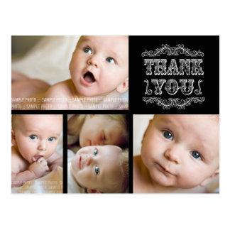 VINTAGE Black White Photo Baby Thank You Post Card