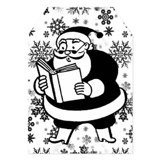 Vintage Black & White Reading Santa Huge Gift Tag Card