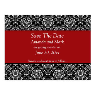 Vintage Black White Red Damask Save The Date Postcard