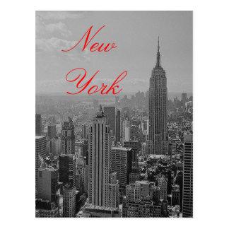Vintage Black & White Red Script New York Postcard