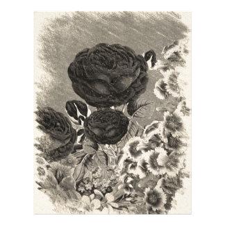 Vintage Black&White Rose Letterhead