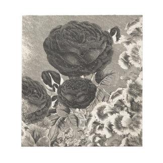 Vintage Black&White Rose Note Pad