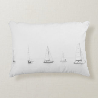 Vintage black & white sailboats nautical photo accent pillow