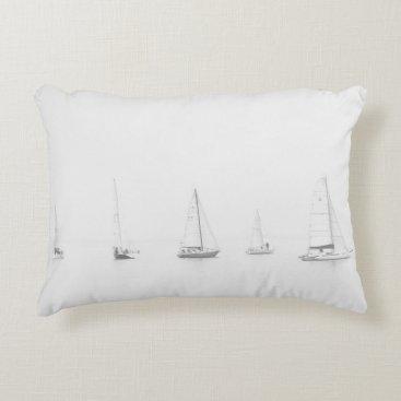 Beach Themed Vintage black & white sailboats nautical photo accent pillow