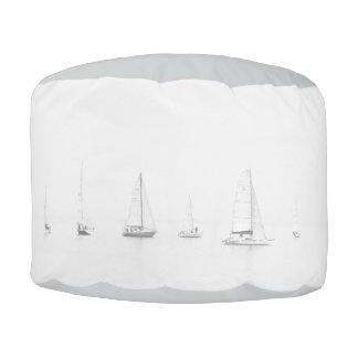 Vintage black & white sailboats nautical photo pouf