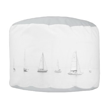 Beach Themed Vintage black & white sailboats nautical photo pouf