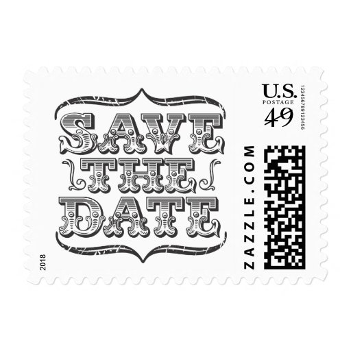 Vintage Black & White Save the Date Postage Stamp